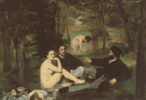 Edouard Manet: Le dejeuner sur l'herbe, 1863. The men are dull.